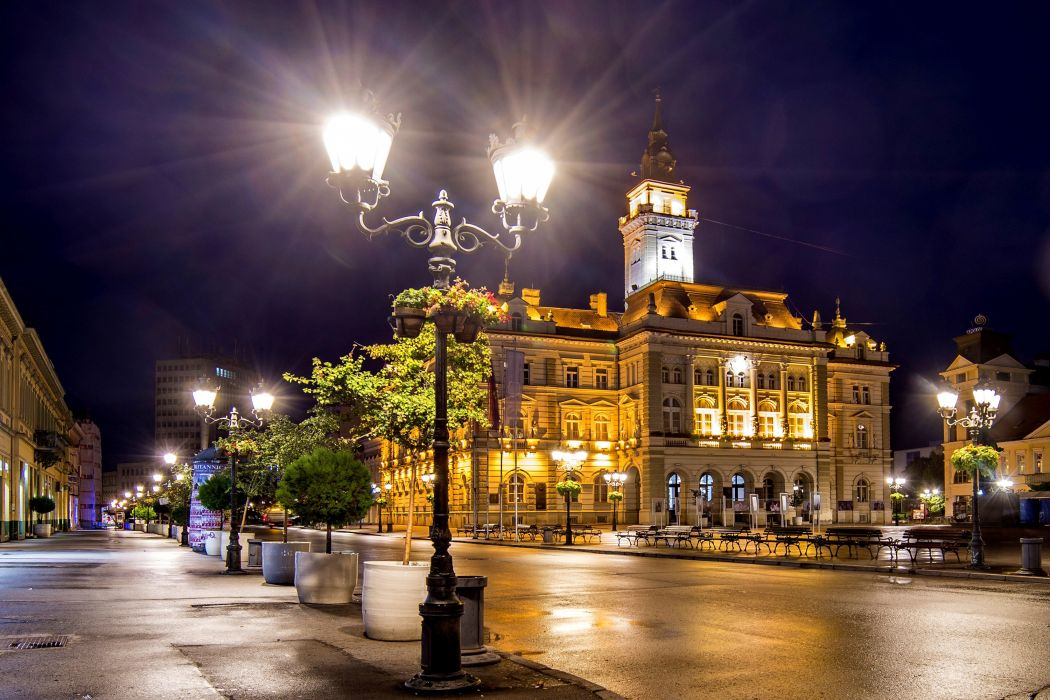 Houses Serbia Street Night Street lights Novi Sad Cities wallpaper