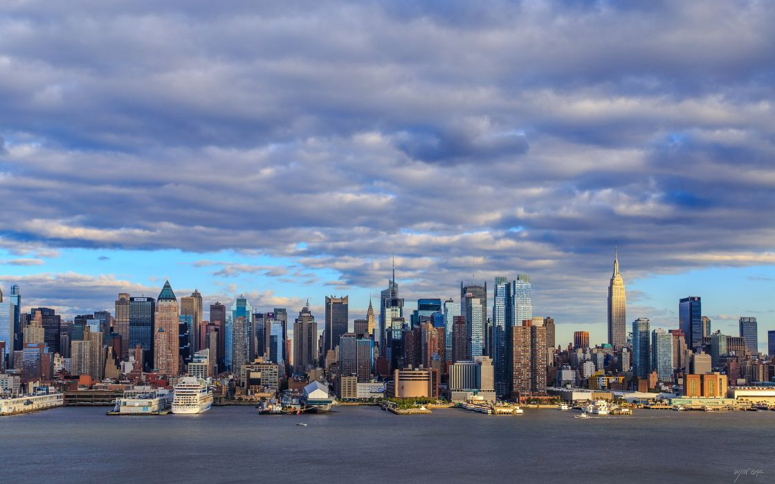 Houses Skyscrapers USA Clouds Manhattan New York City Cities wallpaper