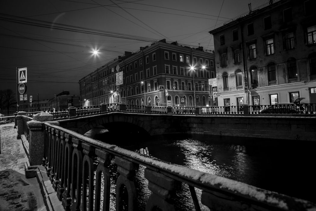 Houses St Petersburg Russia Bridges Fence Canal Night Cities wallpaper