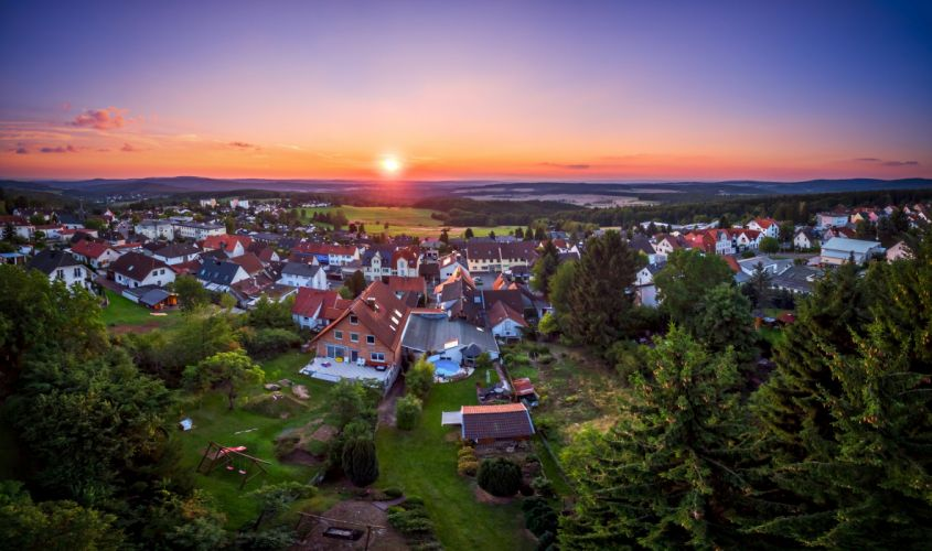 Germany Houses Sunrises and sunsets Scenery Trees Glashuetten Hesse Cities wallpaper