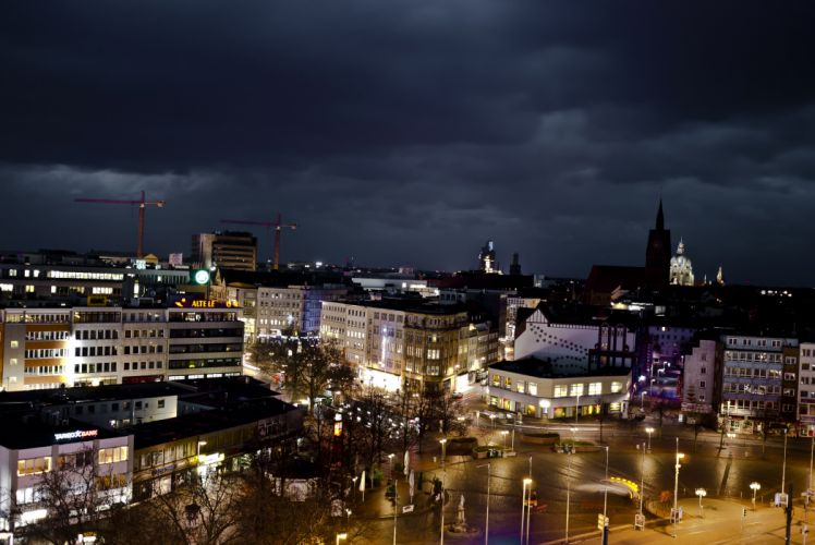 Germany Houses Street Night Hannover Cities wallpaper