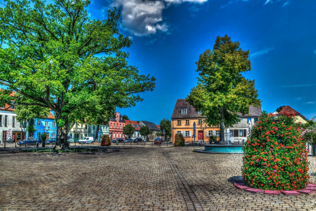 Germany Houses Sky Street Trees HDR Brandenburg Cities wallpaper