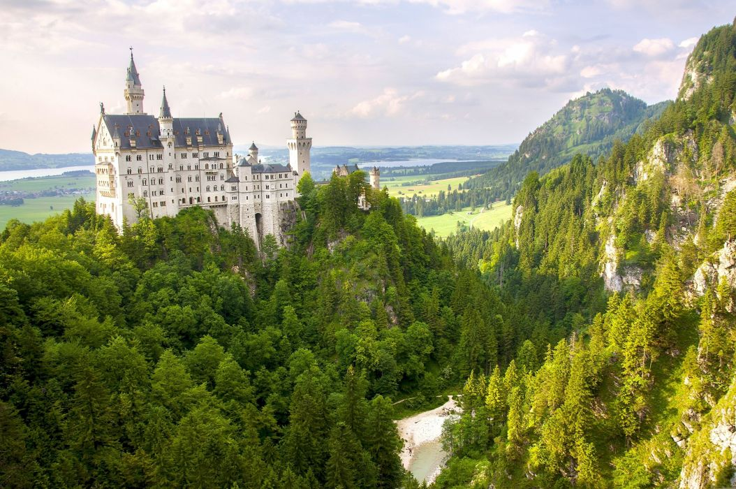 Germany Mountains Castle Neuschwanstein Bavaria Cities Nature wallpaper