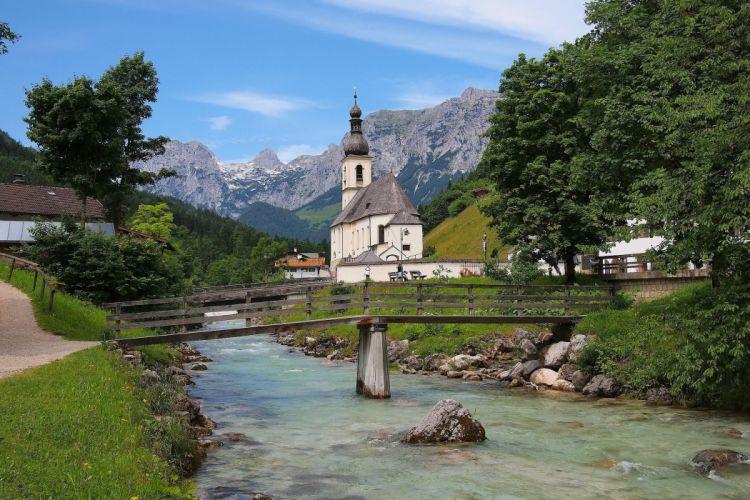 Germany Rivers Bridges Mountains Temples Bavaria Alps St Sebastian Church Ramsau Nature Cities wallpaper