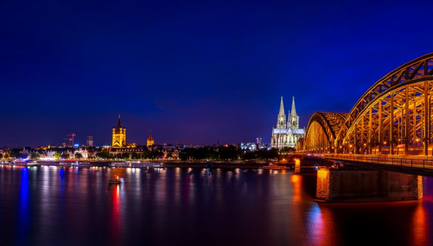 Germany Rivers Bridges Houses Night Cologne Cities wallpaper