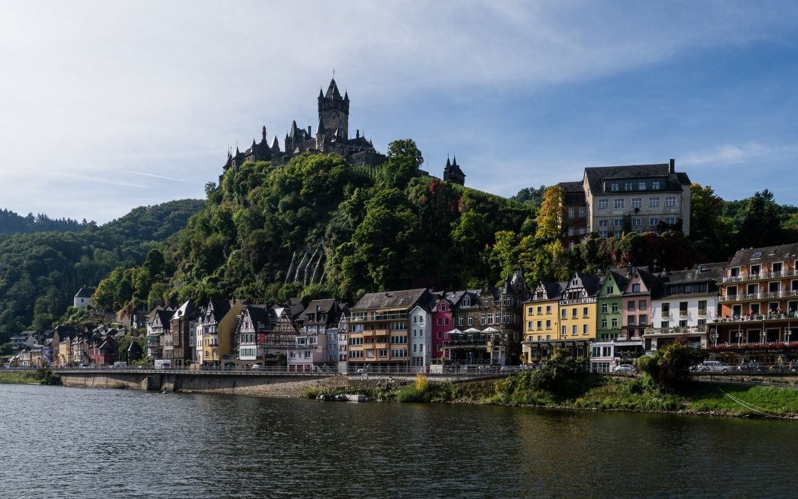 Germany Rivers Castles Coast Cochem Moselle River Cities wallpaper
