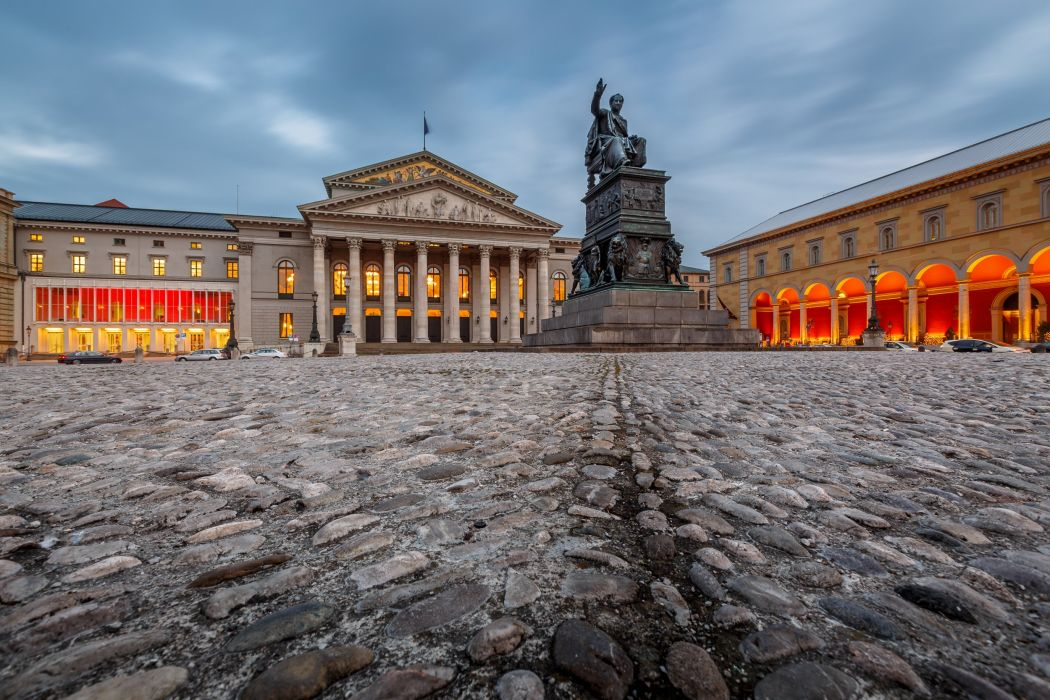 Germany Sculptures Stones Street National Theatre Max-Joseph-Platz Munich Cities wallpaper