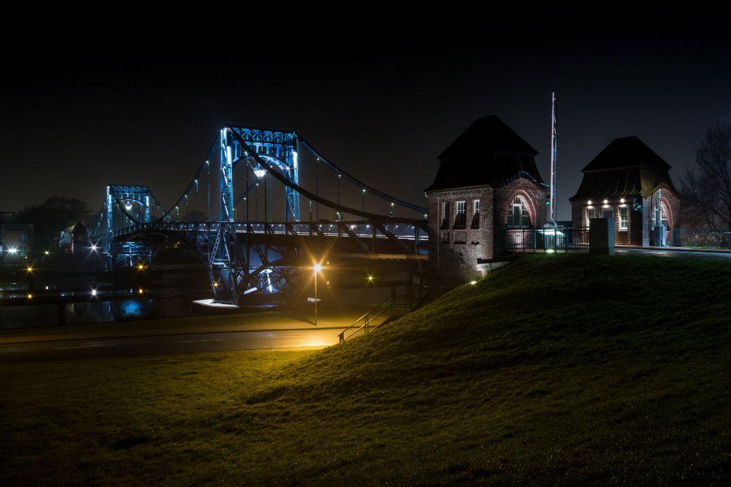 Germany Rivers Bridges Night Street lights Wilhelmshaven Cities wallpaper