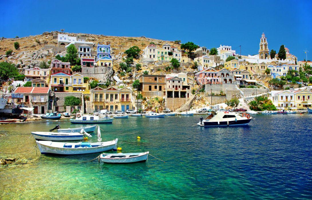 Greece Houses Sea Boats Corfu Cities wallpaper