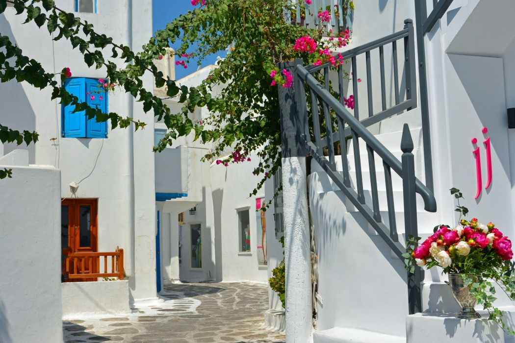 Greece Houses Street Stairs Cities wallpaper