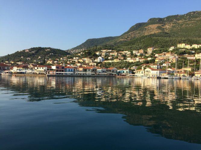 Greece Island Houses Mountains Coast Corfu Cities wallpaper