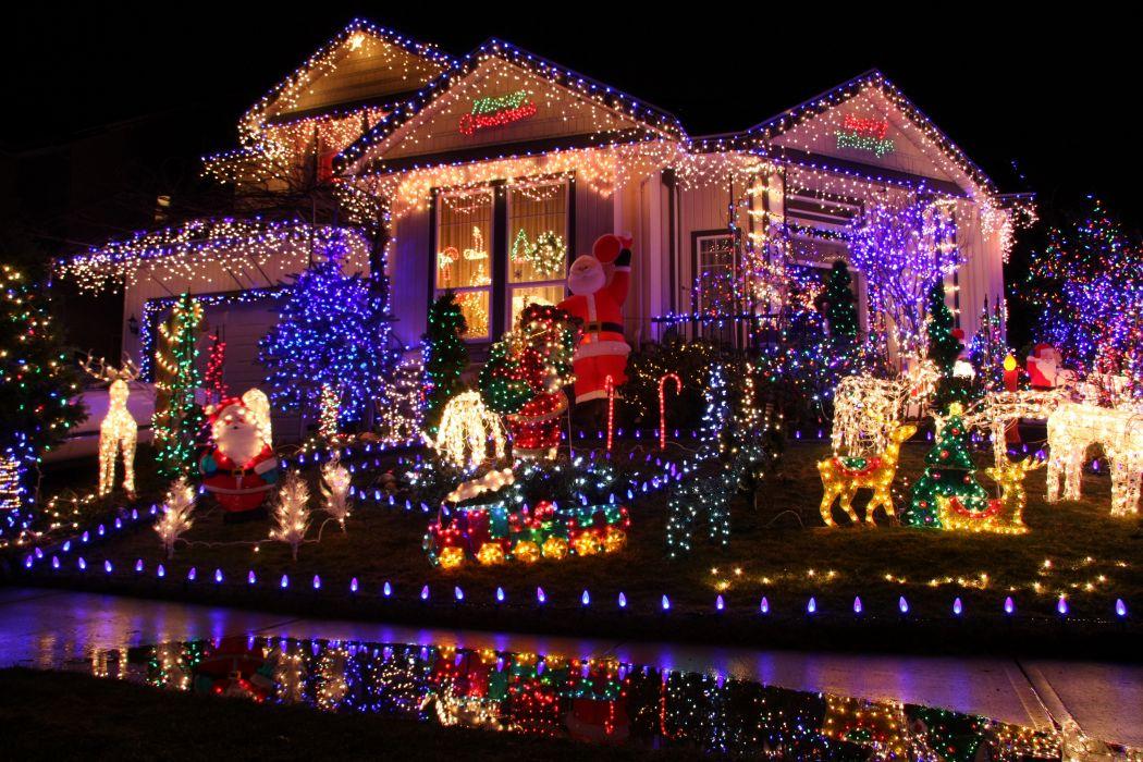 Holidays Christmas Houses Design Fairy lights Cities f wallpaper
