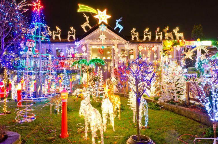 Holidays Christmas Houses Design Fairy lights Cities wallpaper