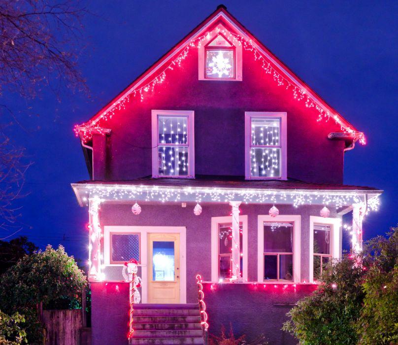 Holidays Christmas Houses Fairy lights Night Cities wallpaper