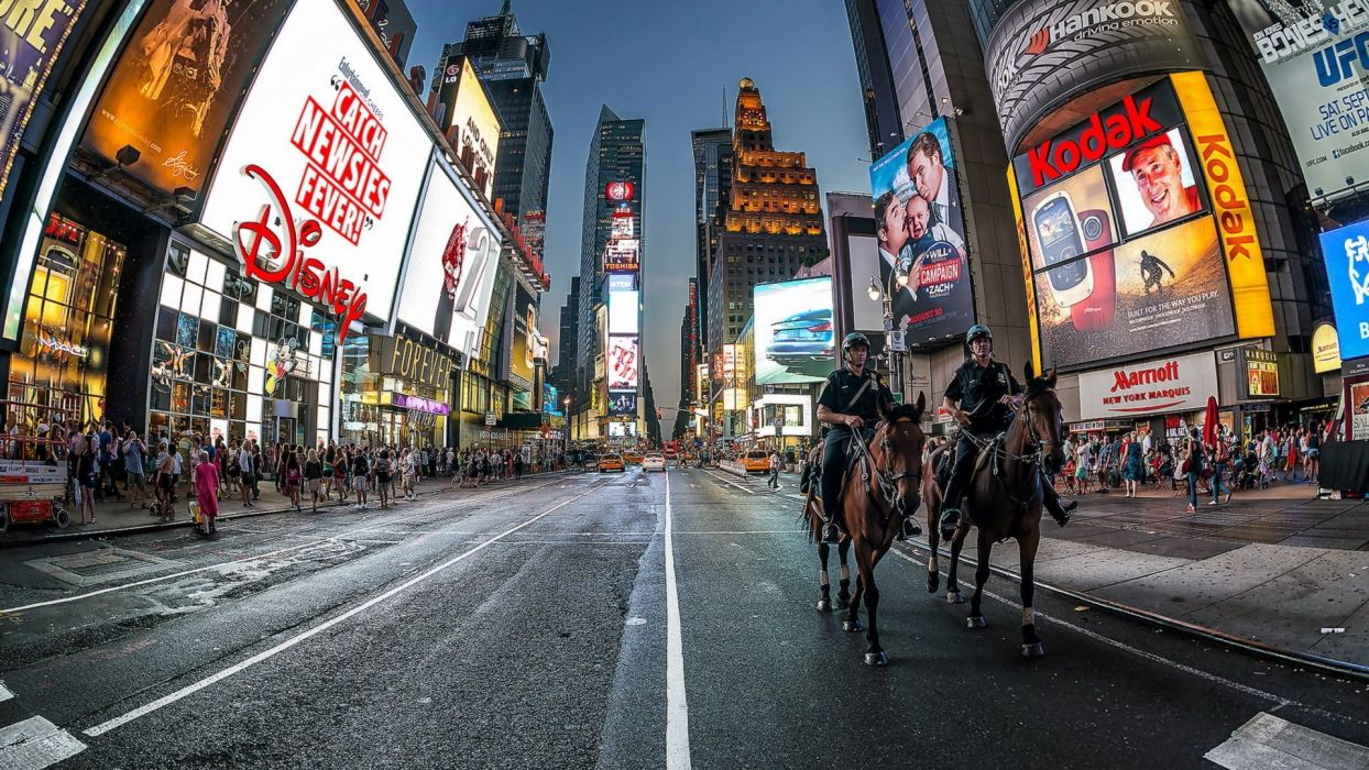 Horseback Policemen Times Square Hdr Horses Skyscrapers City Street New York Night Road Lights Horse Crowd Police wallpaper