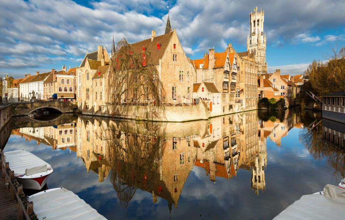 Houses Belgium Canal Bruges Cities wallpaper
