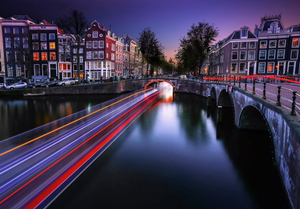 Houses Bridges Netherlands Rivers Night Canal Motion Amsterdam Cities wallpaper