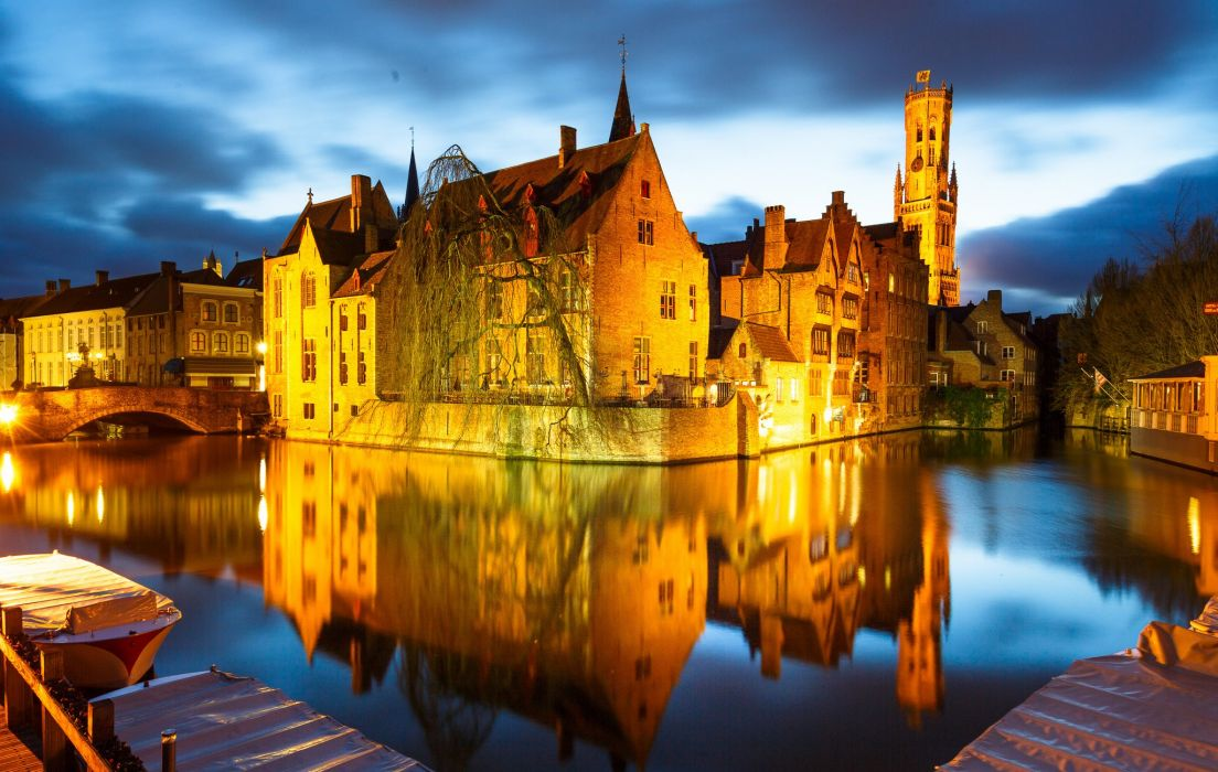 Houses Belgium Night Canal Bruges Cities wallpaper