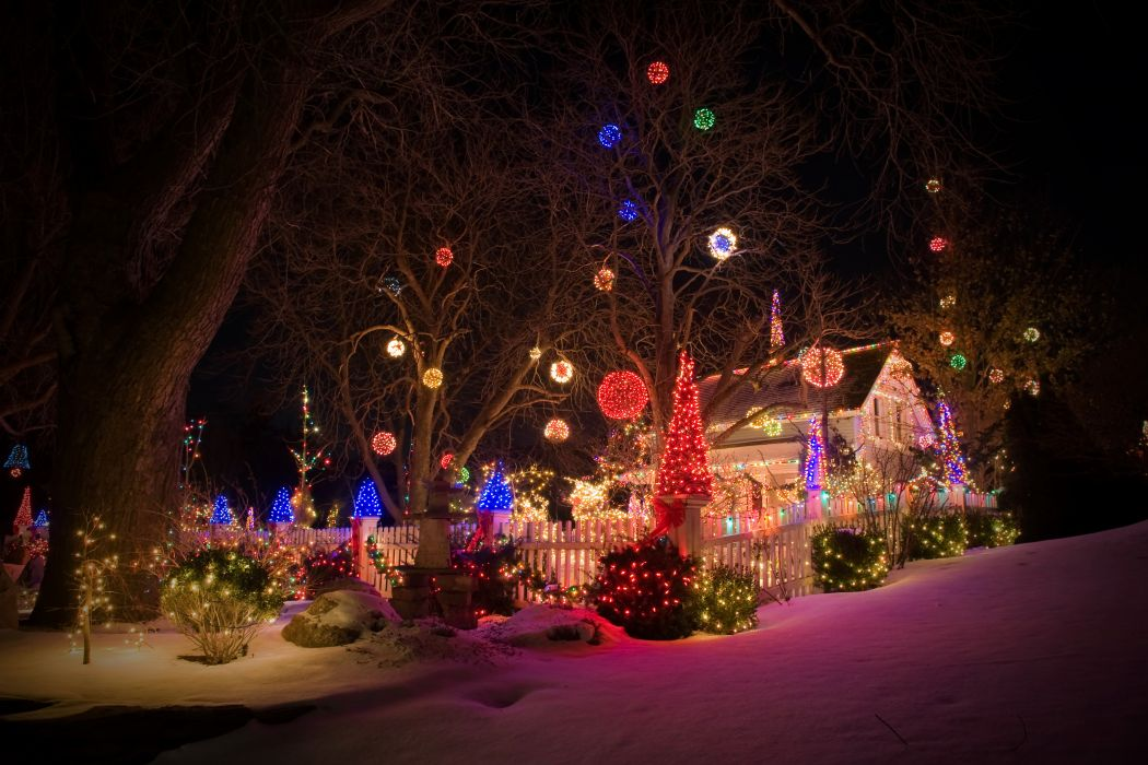 Holidays Christmas Houses Snow Christmas tree Fairy lights Night Shrubs Cities wallpaper