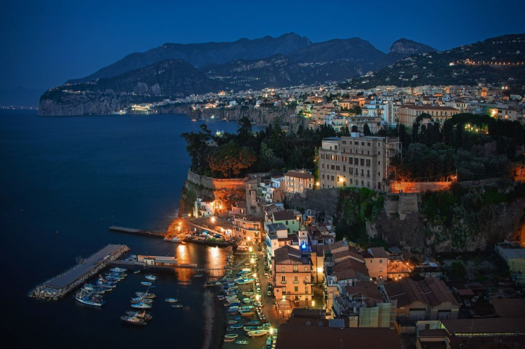 Houses Coast Italy Night From above Sorrento Cities wallpaper