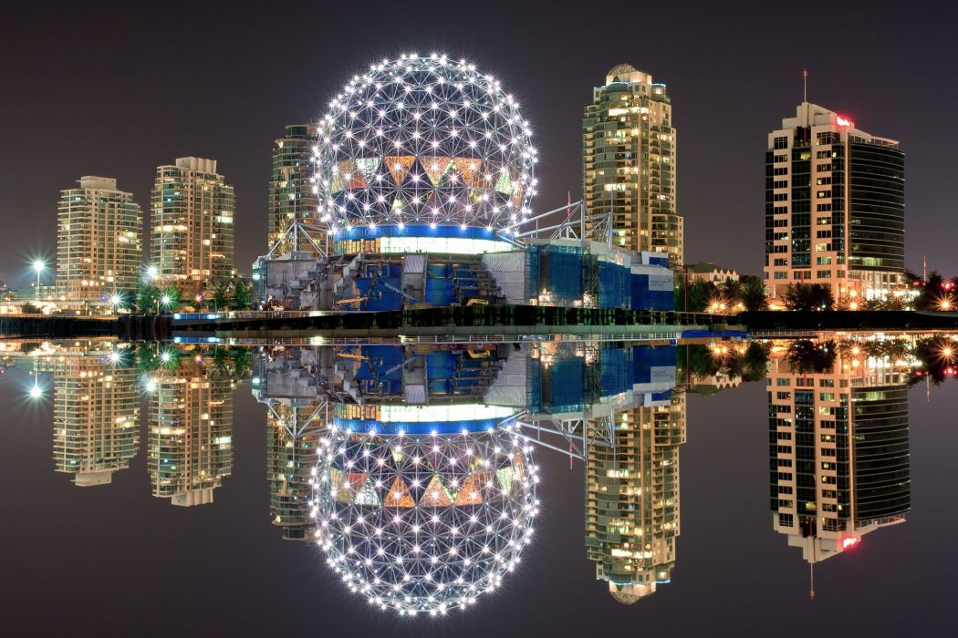Houses Coast Canada Night Vancouver Cities wallpaper