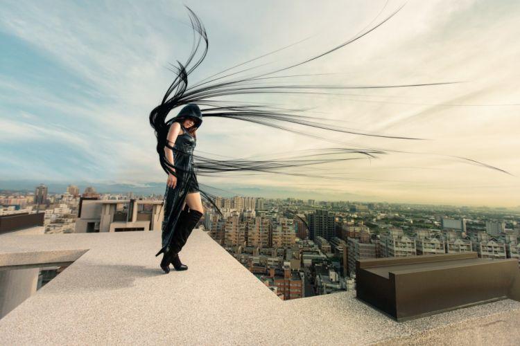 Houses Hair Hood headgear Dark Angel Cities Girls wallpaper