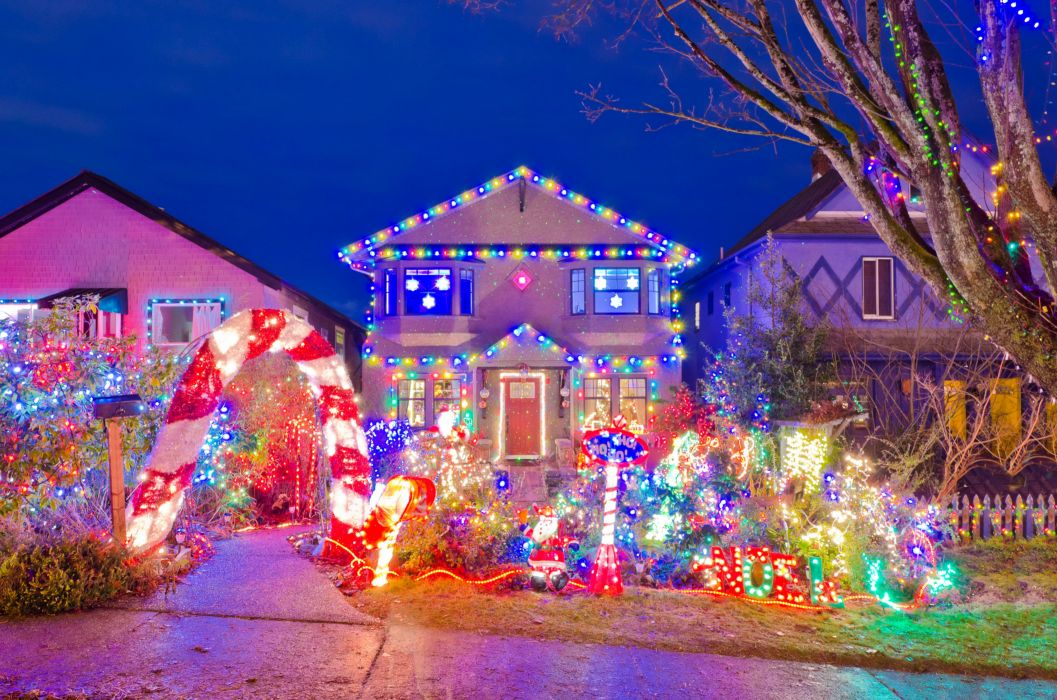 Houses Holidays Christmas Design Fairy lights Cities h wallpaper