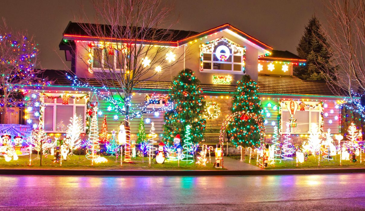 Houses Holidays Christmas Design Fairy lights Cities wallpaper