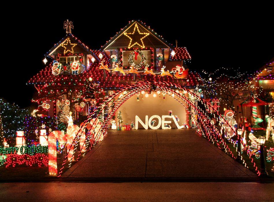 Houses Holidays Christmas Design Night Fairy lights Cities wallpaper