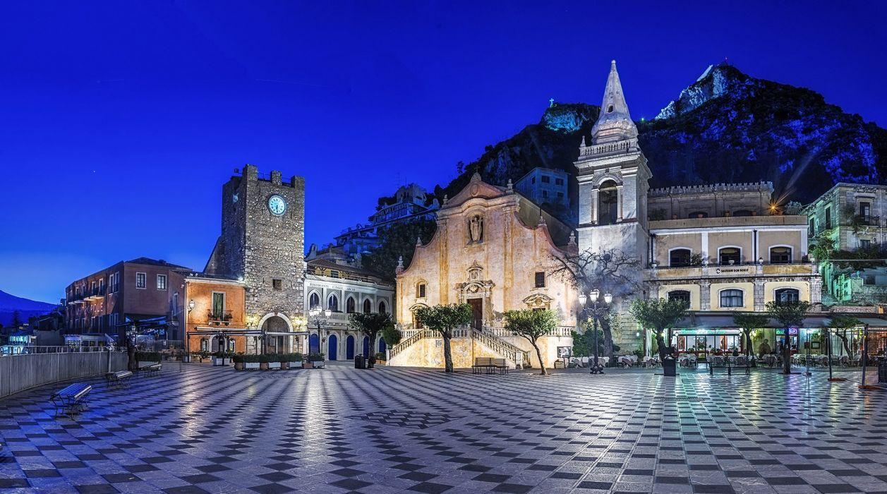 Houses Italy Street Night Taormina Sicily Cities wallpaper