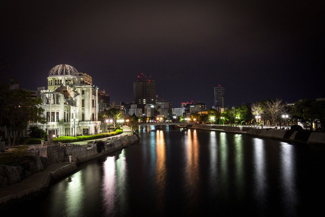 Houses Japan Night Canal Hiroshima Cities wallpaper