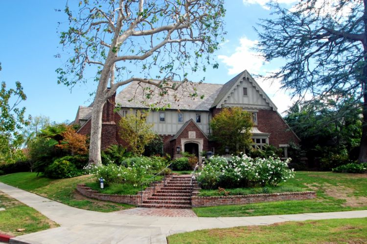 Houses Los Angeles Mansion Stairs Shrubs Trees Cities wallpaper
