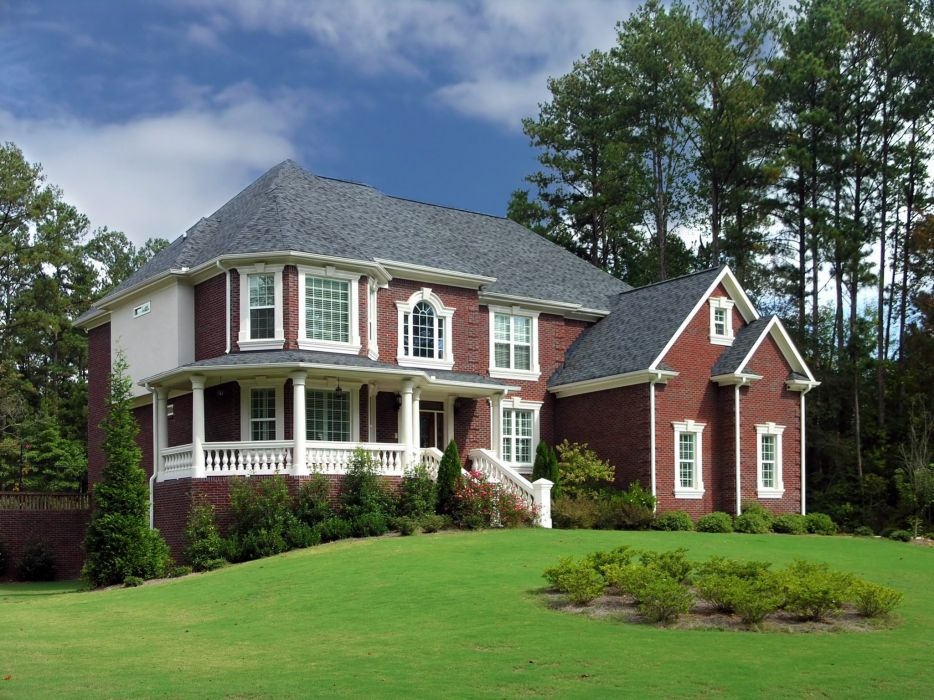 Houses Mansion Design Lawn Shrubs Cities wallpaper