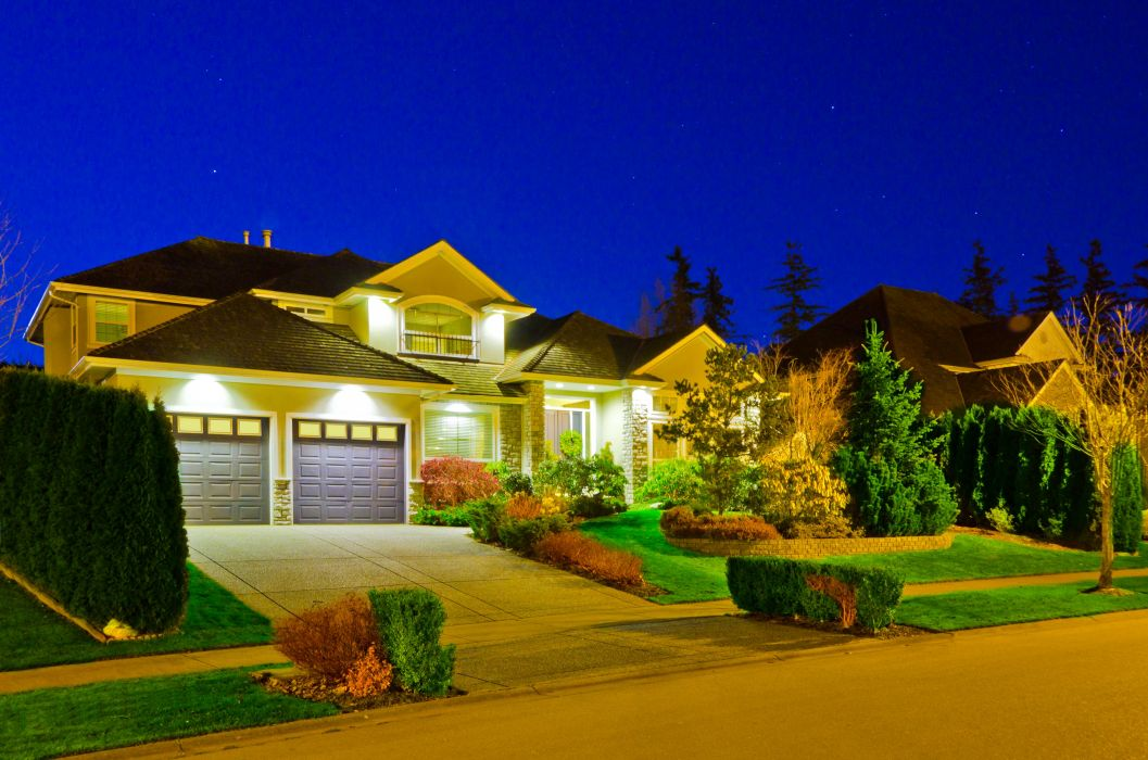 Houses Mansion Design Shrubs Lawn Garage Night Cities wallpaper