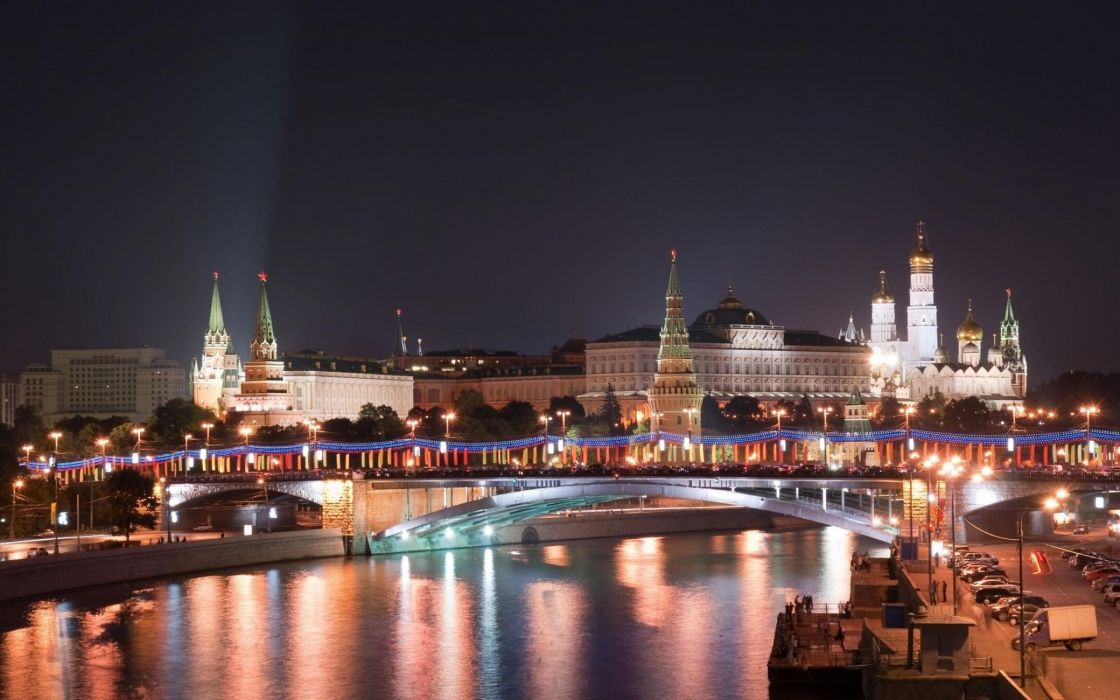 MOSCOW Kremlin Light City Night Architecture wallpaper