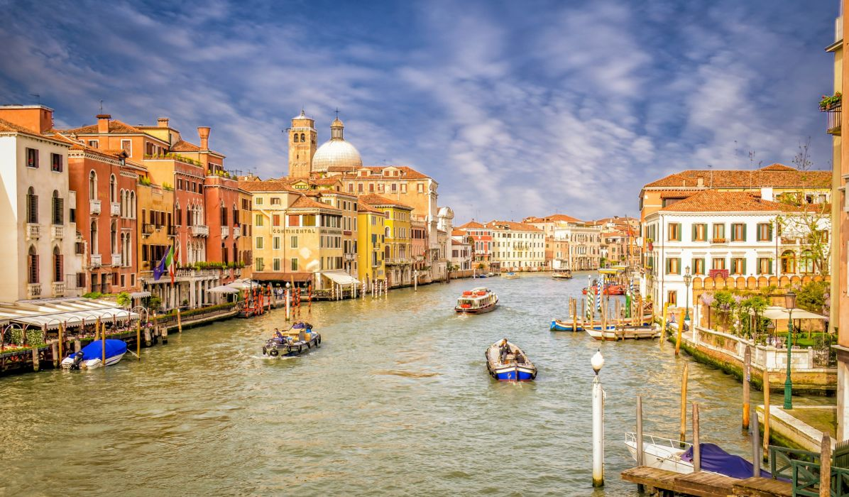 Motorboat Italy Houses Venice Canal Cities wallpaper