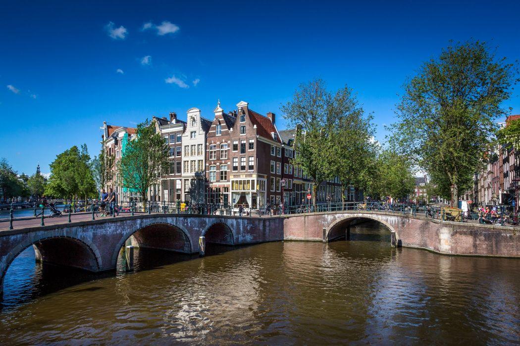 Netherlands Bridges Summer Sky Canal amsterdam Cities wallpaper