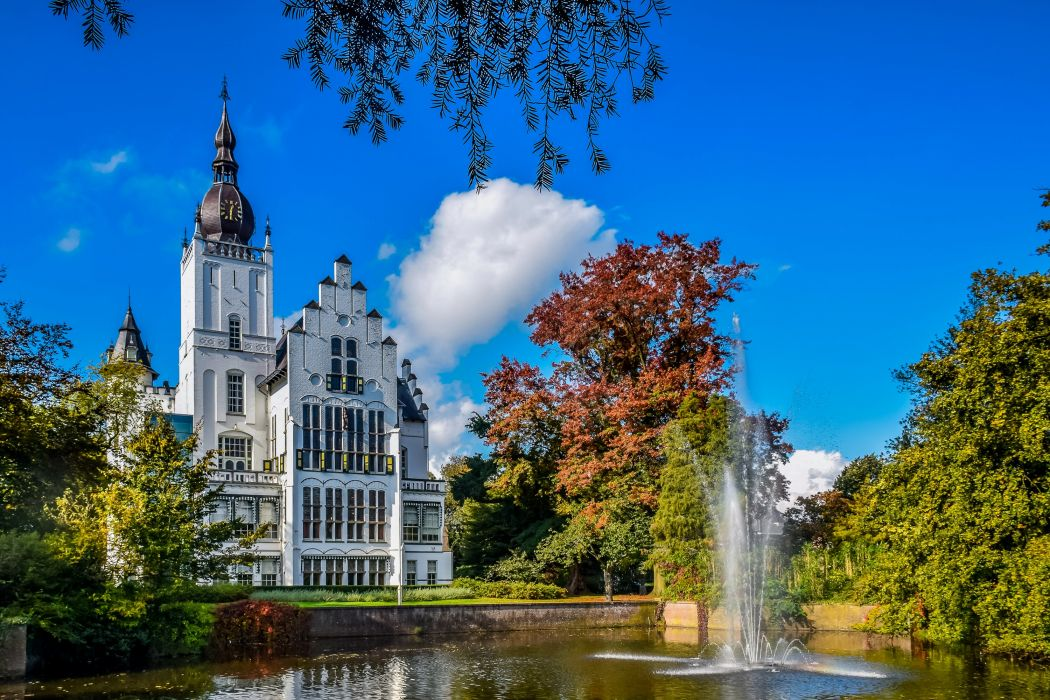 Netherlands Castles Fountains Trees Leeuwenstein Castle Cities wallpaper