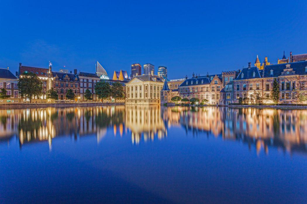 Netherlands Houses Canal Street Hague Cities wallpaper