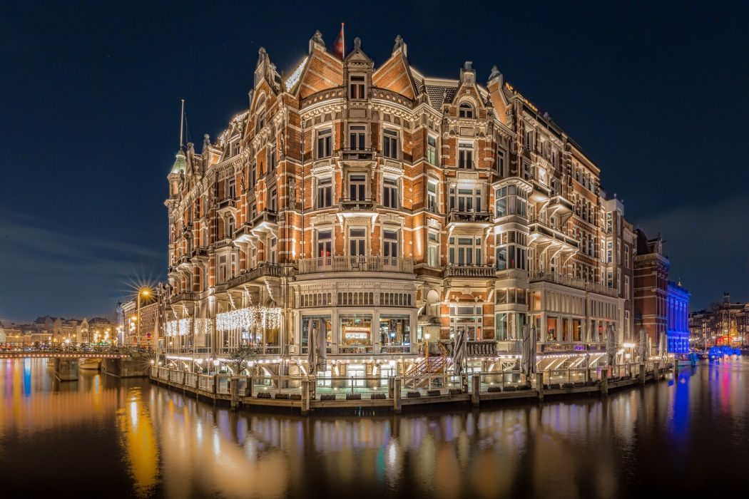 Netherlands Houses Hotel Canal Night Hotel De L'Europe Amsterdam Cities wallpaper