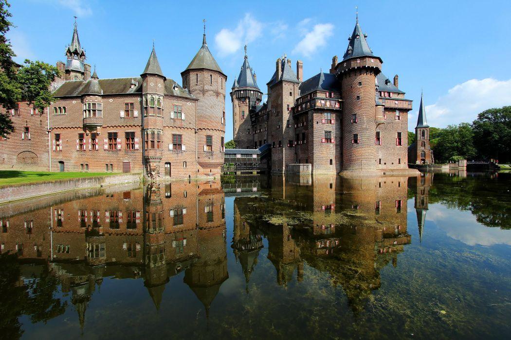 Netherlands Castles Pond De Haar Castle Cities wallpaper