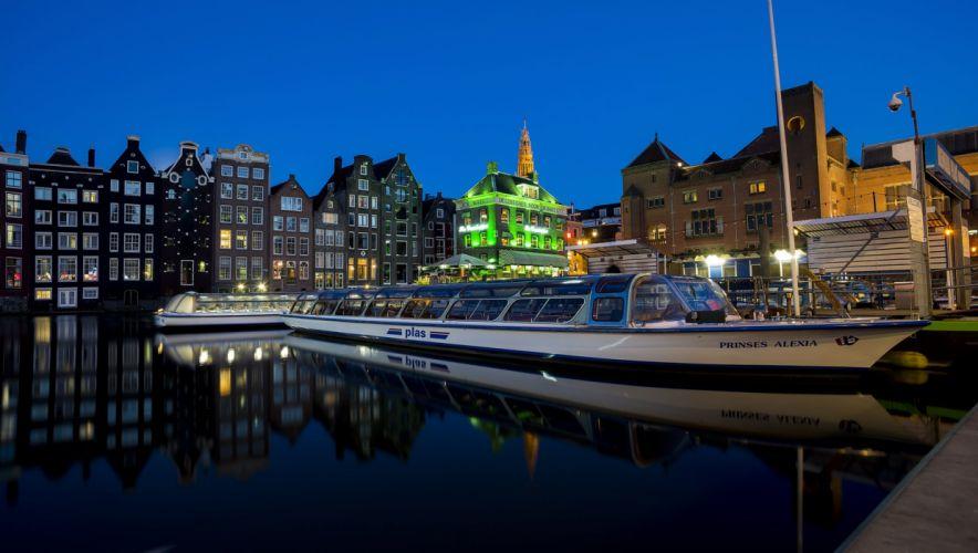 Netherlands Houses Marinas Motorboat Night Amsterdam Cities wallpaper