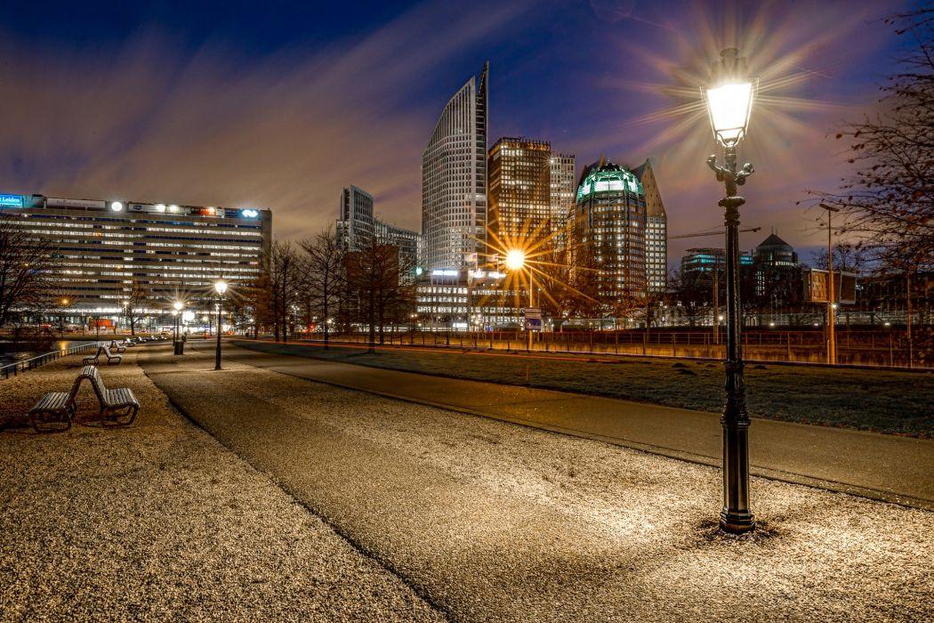 Netherlands Houses Parks Night Street lights Bench Street Hague Cities wallpaper