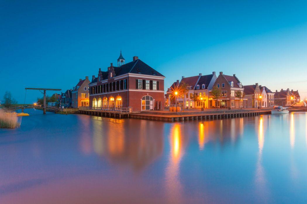 Netherlands Houses Rivers Marinas Coast Street lights Anjum Cities wallpaper