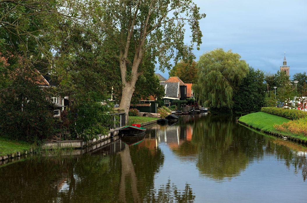 Netherlands Houses Rivers Boats Trees De Rijp Alkmaar Cities wallpaper