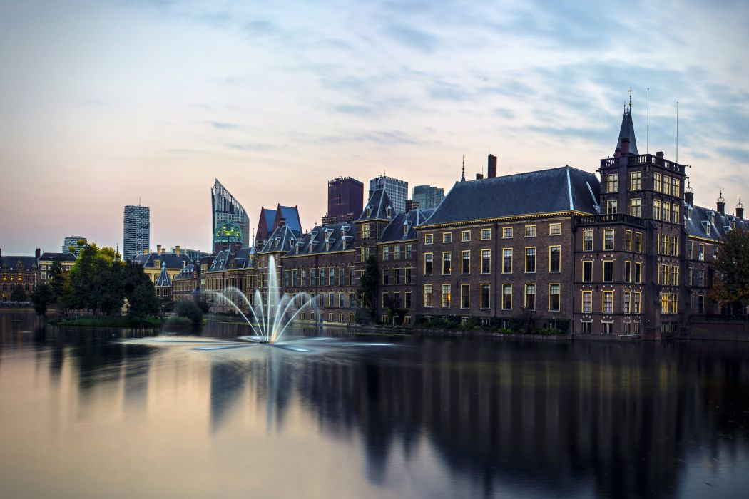 Netherlands Houses Rivers Fountains Hague Cities wallpaper