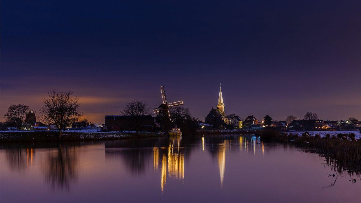 Netherlands Mill Canal Night Cities wallpaper