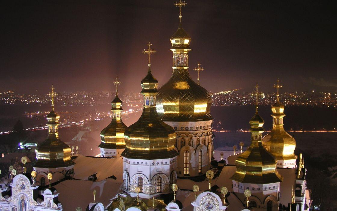 night city Kiev Lavra Dnepr wallpaper