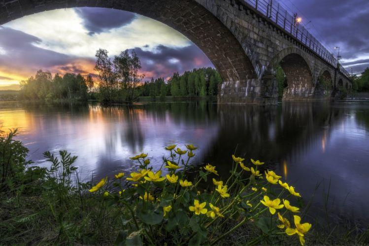 Norway Bridges Rivers Scenery Honefoss Ringerike Cities wallpaper
