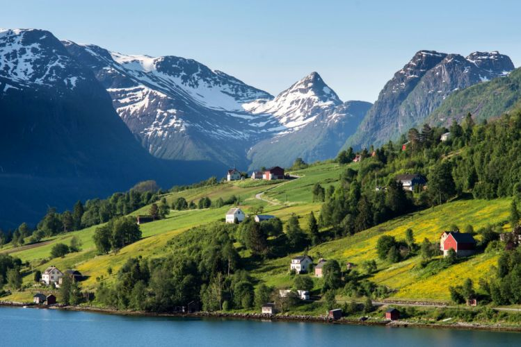 Norway Mountains Coast Houses Grasslands Scenery Olden Nature Cities wallpaper
